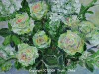 白い薔薇の油絵 - 津野千佳 アートの日記