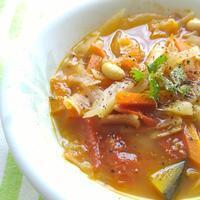 夏野菜と豆のスープで朝ごはん - 料理研究家ブログ行長万里  日本全国 美味しい話