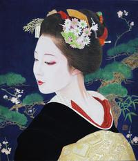 あけましておめでとうございます。 「初春」10号F53.0×45.5㎝日本画岩絵の具箔紙本モデルまめ藤ちゃん - 黒川雅子のデッサン  BLOG版