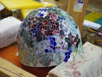 薔薇と葡萄のランプ少し進む - ステンドグラスルーチェの日常
