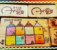 あんじぇさんのロゴとスタンプカードはんこ - Lapi Rose  消しゴムはんこ作品集
