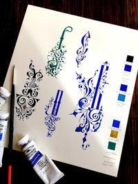 ロシアの装飾模様ガッシュべた塗り練習お気に入りのペンレスト - 風の家便り