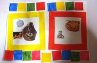 幼児さん「しかくしかく」(貼り絵)・小学生さん大きな絵の続き☆ - 絵画教室アトリえをかく