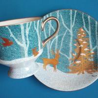 雪の森のカップ&ソーサー - ポーセリンペインティング☆ブログ