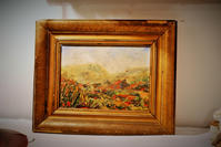 木製金彩額入り油絵「野山の風景」値下げ - スペイン・バルセロナ・アンティーク gyu's shop