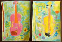 親子絵画教室~自宅にてバイオリンを描く!/次女のキキちゃん♪(折り紙) - DOUBLE RAINBOW
