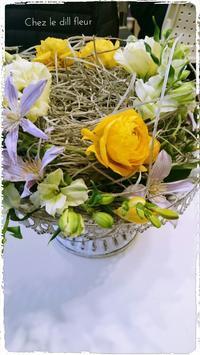 福岡フラワーアレンジメント教室・鳥の巣アレンジ - 福岡パリスタイルフラワーアレンジメント教室 Chez le dill fleur   シェ・ル・ディル・フルール