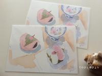 桜もちポストカード×ひな人形風景印で雛祭り便り - てのひら書びより