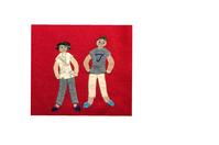 赤い背景 - 糸巻きパレットガーデン