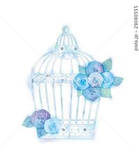 バラと鳥かごのイラスト - ** アトリエ Chica **