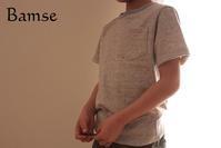 キッズTシャツ(パターンレーベル)120cm杢ベージュ - Bamse