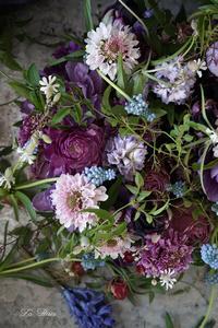 3月のレッスンmauve色のテーブルリース -  La Fleur