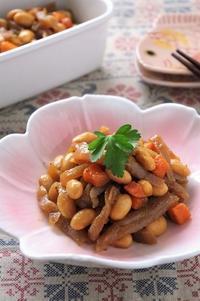 常備菜に!こんにゃくと大豆の炒り煮 - cafeごはん。ときどきおやつ