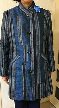お母さんの形見の着物で春コート生徒の作品 - アトリエ A.Y. 洋裁教室