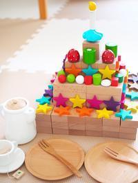 《2歳5ヶ月》積み木でケーキ作り - ゆりぽんフォト記