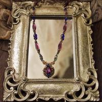 クラシカルカボションのネックレス〈金古美アメジスト〉 - Labra ~stones and beads~