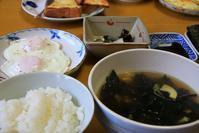 蕨と筍インしたワカメスープな朝餉 - ぶん屋の抽斗
