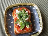 志野釉角皿 x プチトマトと大葉のトースト - うつわや紫野~きょうの一枚~