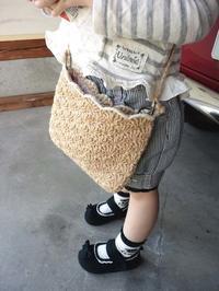 麻ひもの松編みポシェット&お買い物 - D-E