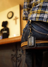 LEATHER KEY CASE !!! - 'One World   /God bless you