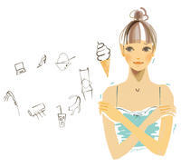 夏の冷えに気をつけて!すこやかファミリー7月号 - まゆみん MAYUMIN Illustration Arts