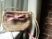 娘用麻ひもポシェット&紫陽花のネックレスと布箱 - D-E