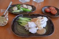 棒棒鶏/帆立とアスパラの塩炒め/トマト/焼き茄子のたたき - まほろば日記