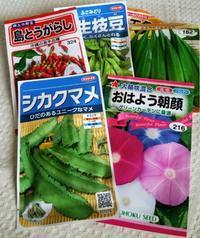 緑のカーテンと夏野菜の苗と種 - hills飛地 長距離自転車乗り(輪行含む)の日誌