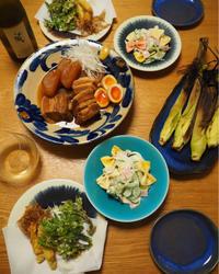 豚の角煮、ヤングコーンとコシアブラの天ぷら - エリンゲル日記