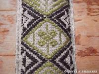 型刺し五つ菱 - береста и вышивка 白樺細工と刺繍