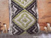 型刺し扇の紋こ - береста и вышивка 白樺細工と刺繍
