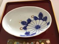 染付  菊彫文 小皿 - 大正から昭和の器
