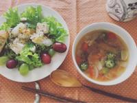 紅はるかとおくら、ミニトマトの味噌スープ。 - 気分屋 ぷりんせす