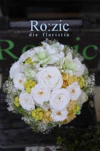 2017.6.21 プリザーブドフラワーのクラッチ風ブーケ/白・グリーン・黄色 - Ro:zic die  floristin