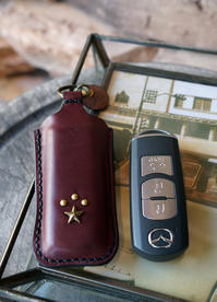 LEATHER KEY CASE - 'One World   /God bless you