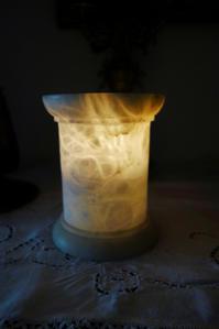 アラバスター円筒形キャンドルホルダー半額 - スペイン・バルセロナ・アンティーク gyu's shop