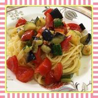 茄子・ズッキーニ・トマトの冷製パスタ(レシピ付) - kajuの■今日のお料理・簡単レシピ■
