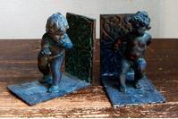 2匹の天使 ブロンズ 彫刻 ブックエンド /569 - Glicinia 古道具店