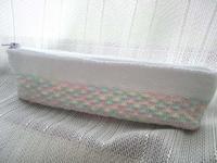 段染め×松編みペンケース完成&編みかけ巾着 - D-E