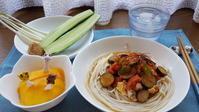 夏野菜炒めのせ塩タレ冷やし中華 - 「おやじの手作りランチ」~休日限定~