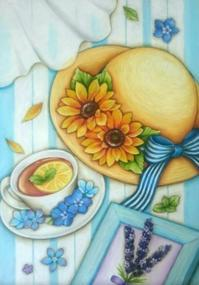 ひまわりの麦わら帽子♪ - 色彩チョークアート*ふわり ~fuwari*chalkart~