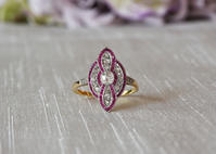 斬新なデザインと高度な技術 ダイヤモンド&ルビーリング - AntiqueJewellery GoodWill