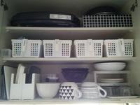 【白】お皿を増やしても安心♪100均の収納で吊戸棚の食器棚の増設 - ほぼ100均で片付け収納に挑戦