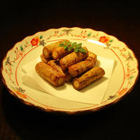 牛蒡の素揚げ チューリップの唐揚げ - あきらや料理録