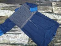 はおりコートに ちくちく刺し子 - 古布や麻の葉