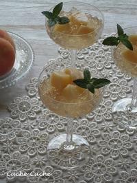 桃と白ワインのふるふるジュレ - Cache-Cache+