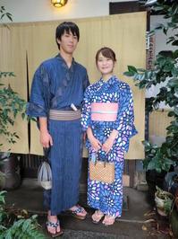 暑い嵐山、爽やかにお出かけのお二人さん。 - 京都嵐山 着物レンタル&着付け「遊月」