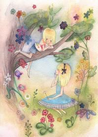夏休み☆双子の女の子のイラスト - ギャラリー I