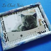 フォトフレーム - 猫が見学に…。東京大田区駅前のデコパージュ、ソスペーゾトラスパレンテ(3D)中心のクラフト教室Le Chat Noir(ル シャノワール)