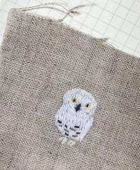 シロフクロウ刺しゅう - vogelhaus note